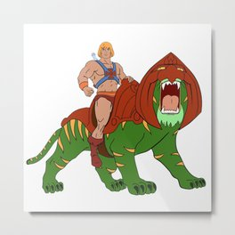 He-man and BattleCat Filmation Style Metal Print