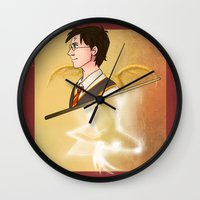 harry potter Wall Clocks featuring Harry Potter by Imaginative Ink