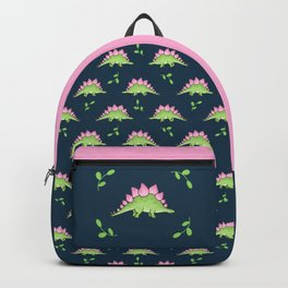 Green and Pink Stegosaurus Dinosaur on navy with leaves Backpack