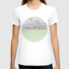 Circle SMALL White Womens Fitted Tee