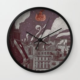 roofs of Paris in Christmas Wall Clock