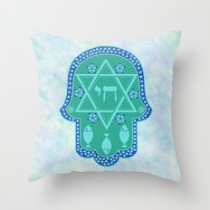 Hamsa for blessings, protection and strength - watercolor turquoise Throw Pillow
