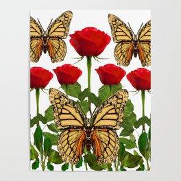 RED ROSES  & MONARCH BUTTERFLIES ART Poster