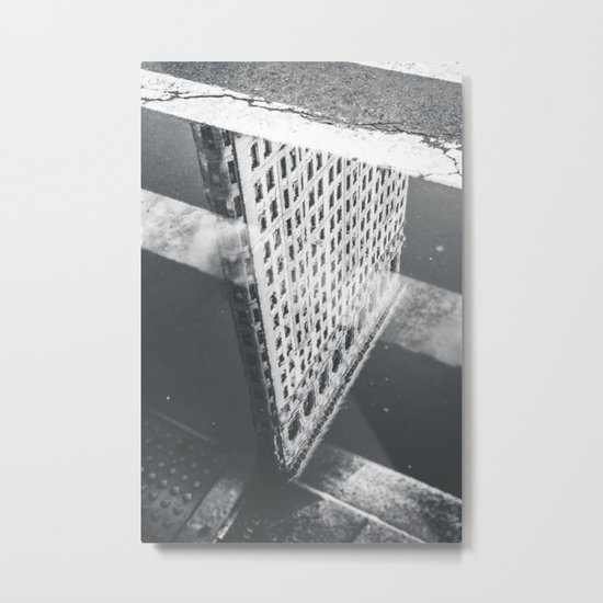 Flat Iron Building - NYC Reflection Metal Print