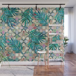 Muted Moroccan Mosaic Tiles with Palm Leaves Wall Mural