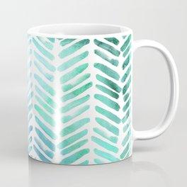 Handpainted Chevron pattern - light green and aqua - stripes Coffee Mug