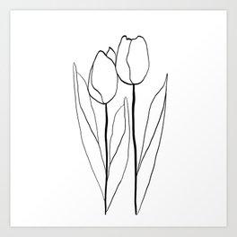 Line Art Tulips Art Print