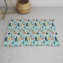Lazy Daisy, Dots & Diamonds Blue - Mrs. Hand's Rad Pad Collection Rug