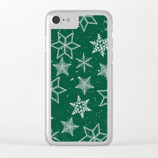 Snowflakes On Green Background Clear iPhone Case