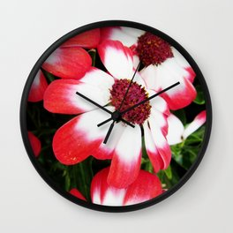 Pink Flower Power Wall Clock