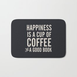 Happiness is a cup of coffee and a good book, vintage typography illustration, for libraries, pub Bath Mat