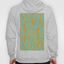 Mint Green and Yellow Leaves Gouache Pattern Hoody