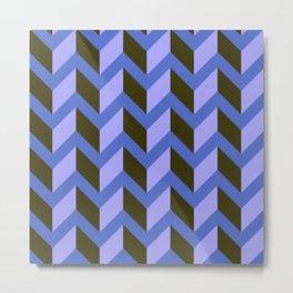 Purple and Black Chevron Pattern Metal Print