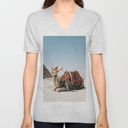 Camel with the Pyramid Photography in Hd Unisex V-Neck