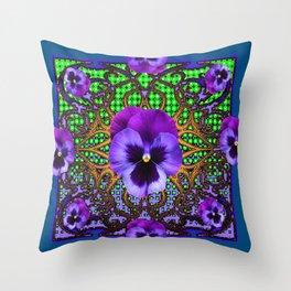 DECORATIVE PURPLE PANSIES TEAL ART Throw Pillow