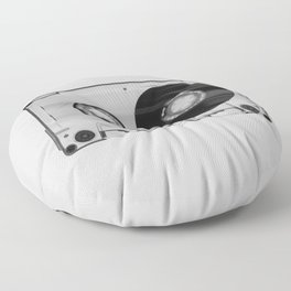 Vintage 80's Cassette - Black and White Retro Eighties Technology Art Print Wall Decor from 1980's Floor Pillow