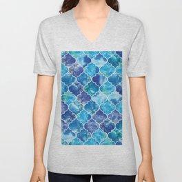 Moroccan Tile Pattern in Blue Watercolor Unisex V-Neck