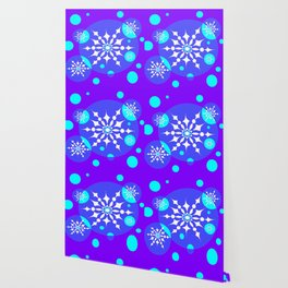 A Winter Snowy Design with Pretty Snowflakes Wallpaper