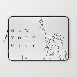 White Minimal New York City Poster Laptop Sleeve