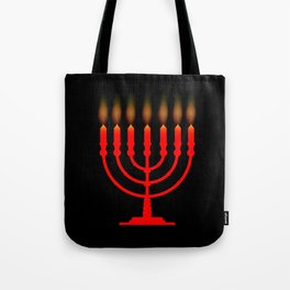 Menorh With Seven Candles Tote Bag