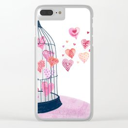 Caged Hearts - Free Love Clear iPhone Case