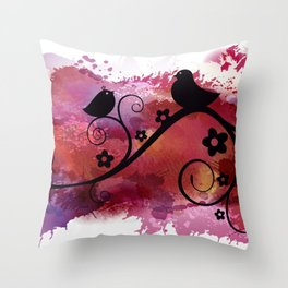 Black birds silhouette on a branch Throw Pillow