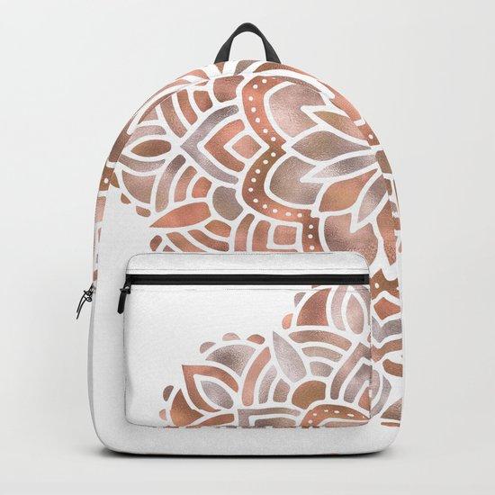 Mandala Rose Gold Flower Backpack