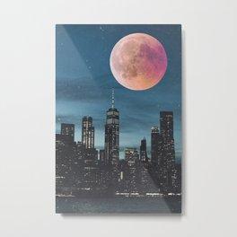 New York City Blood Moon Skyline Metal Print