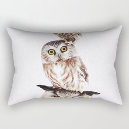 Stacked Owls on Lilac Rectangular Pillow