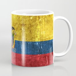 Vintage Aged and Scratched Ecuadorian Flag Coffee Mug
