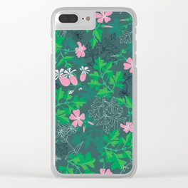Forest Wildflowers at Daybreak / Emerald Background Clear iPhone Case