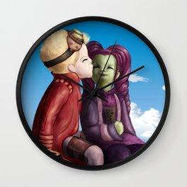 Young Gamora and Peter Kiss Wall Clock