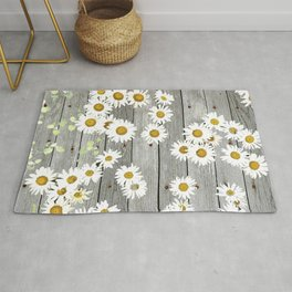 Daisies Scattered on a Wooden Floor Rug