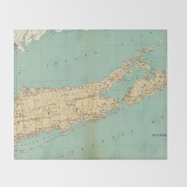 Vintage Map of Suffolk County NY (1895) Throw Blanket