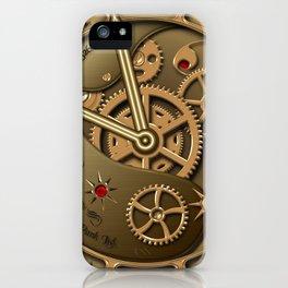 Steampunk clock gold iPhone Case