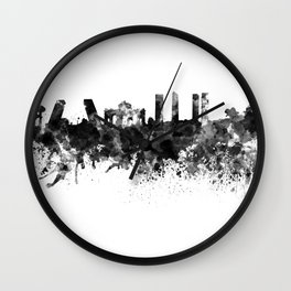 Madrid skyline in black watercolor Wall Clock