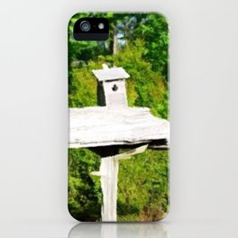Rustic Knotted Pine Wood Fence Birdhouse Yard Art iPhone Case