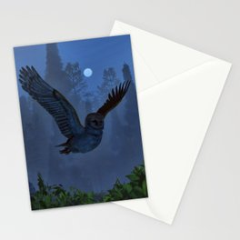 Owl In The Moonlight Shadow Stationery Cards