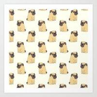 Cute pug puppy Art Print