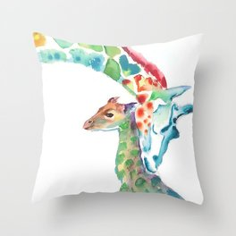 Mummy and Baby Giraffe College Dorm Decor Throw Pillow