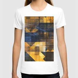 Futurism Abstract as a Blue Yellow Technology Background T-shirt