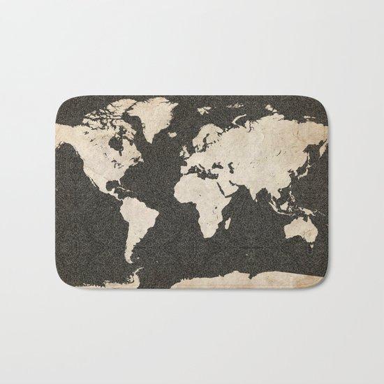 World Map - Ink lines Bath Mat