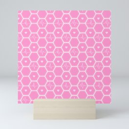 Love is everywhere at the Valentine's Day - Futuristic Heartbeat Hexagonal Tile Pattern & Pink Hearts 7  Mini Art Print