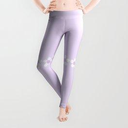 Spring Daisies - Geometric Design in Lilac Purple & White Leggings
