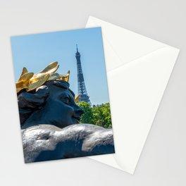 Nymph de la Neva statue on the Pont Alexandre III in Paris Stationery Cards