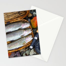 Creel with Native Trout on fishing stream Stationery Cards
