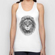 Black+White Lion Unisex Tank Top