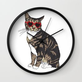 Cat Heart Glasses Wall Clock
