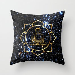 Gold funky Space Buddha Throw Pillow