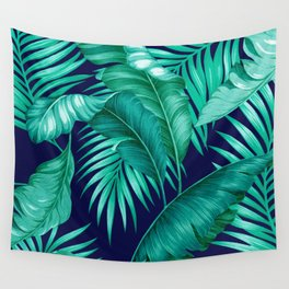 HAWAIIAN GARDEN TROPICAL LEAVES | turquoise navy Wall Tapestry
